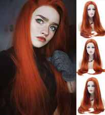 """24"""" Lace Front Wig Silky Straight Copper Auburn Fashion Synthetic Hair Wig"""