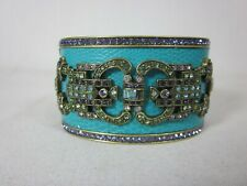 "Heidi Daus Denim And Deco Crystal Hinged Bangle Bracelet 7"" Turquoise"