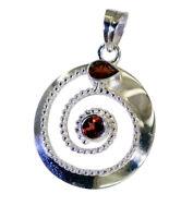 hübscher Granat 925 Sterlingsilber roter Anhänger echtes Jaipur de Geschenk