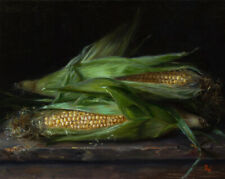 """Still Life with Corn Collectible Original Oil Painting 8""""x10"""" • Alexei Pal"""
