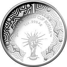Australia 2018 FIFA World Cup Russia $1 Dollar 1oz Pure Silver Proof Coin RAM