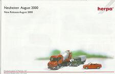 Catálogo Herpa novedades agosto de 2000 maquetas de coches + accesorios ho 1:87