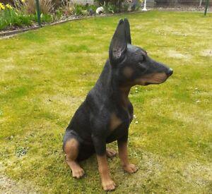 Gartenfigur Hund Dobermann schwarz 60cm 3399 Garten lebensecht Figur