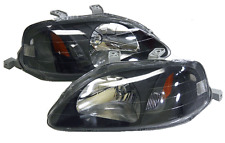 99-00 Honda Civic JDM Black Headlights Amber Hatch Back Coupe Sedan 2/3/4 EK EM