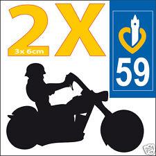 2 stickers autocollants style plaque immatriculation moto Département  59