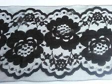 """* Lace Market * 5 Metres Nottingham Black Lace Trim Lingerie 140mm 14cm 5.5"""""""