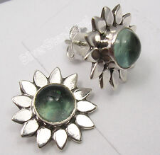 925 Solid Silver Exclusive CABOCHON APATITE FLOWER Studs Posts Earrings 1.5 CM