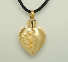 ROSE CREMATION URN NECKLACE GOLD HEART CREMATION JEWELRY MEMORIAL KEEPSAKE URNS