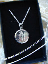 ST CHRISTOPHER STERLING SILVER 925 NECKLACE CHILDS 1.5 RELIGIOUS PENDANT CHARM