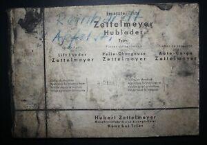 Alte Ersatzteilliste: Hubert Zettelmeyer Hublader - Gültig ab Maschine 36918