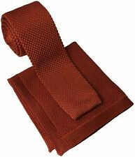 New Burnt Orange Knitted Skinny Tie with Matching Knitted Pocket Square