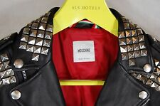 MOSCHINO  STUDS MEN BLACK LEATHER FITTED BIKER RIDING  JACKET EU 50 US 40 OR S
