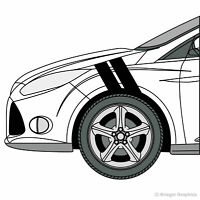 Ford Focus Hash Mark Stripes Grand Sport Fender Bar Decals 3M