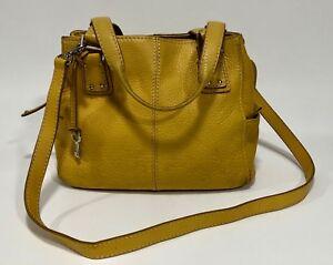 Vintage FOSSIL BLACKBURN Yellow Pebbled Leather Rugged Satchel Purse Tote Bag