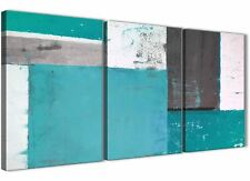 Grigio Verde Acqua Pittura Astratta Tela Wall Art SPLIT Set di 3-larghezza 125 cm - 3344