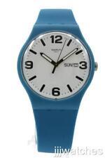 Swatch Originals COSTAZZURRA Day/Date Matte Blue Silicone Watch 41mm SUOS704 $75