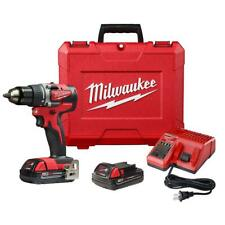 Milwaukee 2801-22CT M18 18V 1/2-Inch Compact LED Brushless Drill Driver Kit