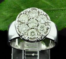 1.10 ct 14k Solid White Gold Ladies Diamond Ring Cluster 7.20 Grams Cigar band