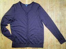 Women Gap XL Cardigan Sweater 100% Wool Ultrasoft Purple Shirt Tunic Snap Button
