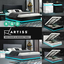 Artiss Bed Frame RGB LED Double Queen King Size Gas Lift Base Storage LUMI