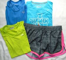 Womens Fitness Gym Lot (4) UNDER ARMOUR & NIKE Shorts & Shirts Sz M