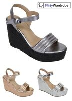High Platform Wedge Espadrille Sandals Ankle Strap Summer Shoes Size New Womens