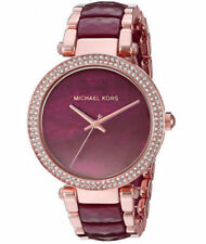 NEW Michael Kors Parker Rose Gold-Tone and Plum Acetate Women's Watch MK6412
