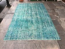 Vintage Floor Rug,Turqouise Rug,Bohemian Floral Carpet,Home Living Rug
