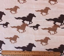 FLANNEL*BROWN SILHOUETTE RUNNING HORSES on CREAM *100% Cotton Fabric *NEW* BTY