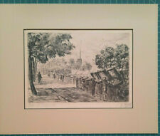 Paris Les Bouquinistes - Etching By: Briard - 9 inch x 6.25 inch