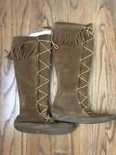 Vintage Minnetonka Women's Size 8 Brown Tall Lace-Up Fringe Boots