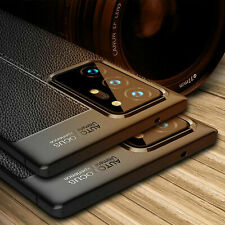 For Samsung Note 20 Ultra 5G Case Shockproof TPU Leather Grain Soft Rubber Cover