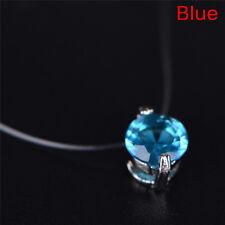 Invisible Transparent Fishing Line Zircon Pendant Necklace Choker Women Jewelry-