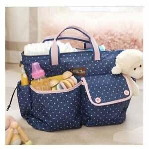 NWT Matilda Jane The Essentials Original Diaper Bag Navy Blue with Polka Dots