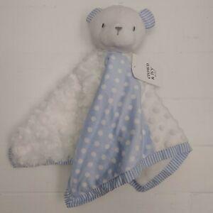 Crown & Ivy Baby Blanket Blue Bear Lovey Security Minky Seer Sucker