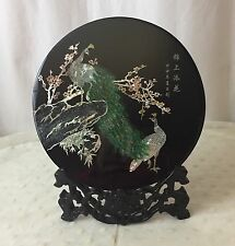 Chinese Asian Peacock Black Lacquer Mother Of Pearl Display Art Wood Plate Stand