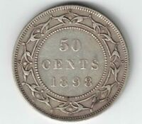 NEWFOUNDLAND 1898 SMALL W 50 CENTS QUEEN VICTORIA STERLING SILVER CANADIAN COIN