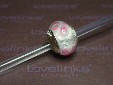 ** Genuine Lovelinks PINK CLEMATIS Murano Glass Charm  **