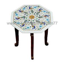Marble Inlay Side Table Octagonal Small End Table Indian Peacock Table Top