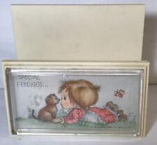 Vintage 1981 Hallmark Betsey Clark Letter Holder Hard Plastic Little Girl Kitten