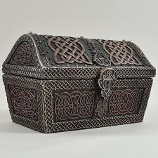 Round Celtic Trinket Box Treasure Chest Detailed Bronze Sculpture H11cm 33821