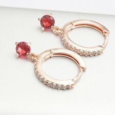 Shiny Main Red Cubic Zirconia Rose Gold Plated Hoop Earrings Gift Box Pack
