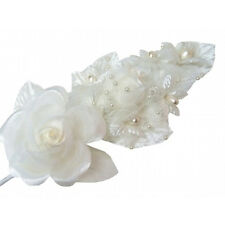 "3 ivory Silk Pearl & organza flower  Corsages 5""x 2.5 with pearl pin"