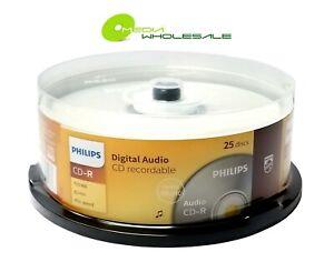 25 PHILIPS Digital Music CD-R 40X  Branded Logo 700MB Audio Media Disc Cake Box