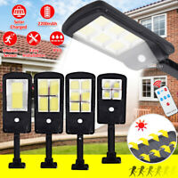 LED Solar Street Light PIR Motion Sensor Wall Lamp Outdoor Spotlight +Remote