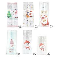 50 Pcs Christmas Bag Santa Claus Snowman Cellophane Candy Gift Fudge Cookie E9U5