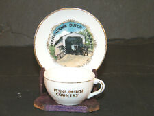 VINTAGE PENNSYLVANIA DUTCH COUNTRY SOUVENIR MINIATURE SAUCER DISH CUP TEA SET