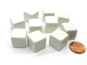 Set of 10 D6 16mm Blank Opaque Dice - White
