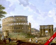 RUINS & COLOSSEUM OF ROME ITALY PAINTING ETERNAL CITY ART PRINT ON REAL CANVAS