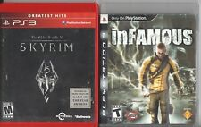 Video Game Lot - SANDBOX RPG 2-PACK Skyrim / Infamous - Sony PlayStation 3